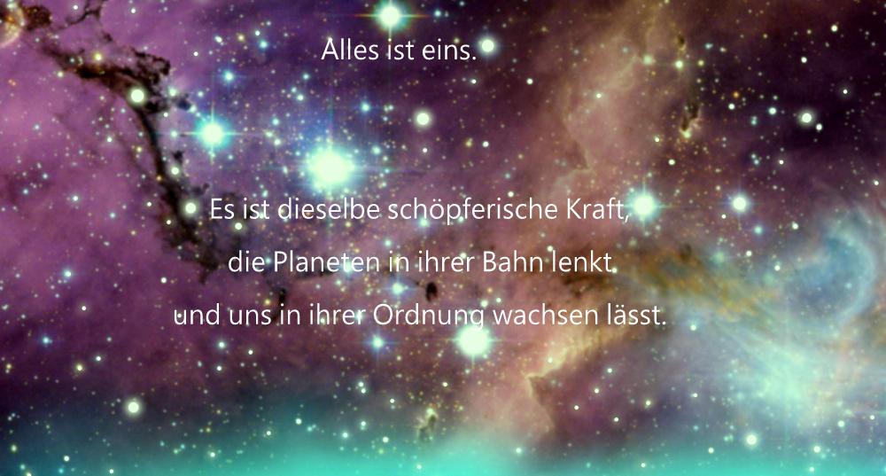 Kosmos –Alles ist eins. Es ist dieselbe schöpferische Kraft, die Planeten in ihrer Bahn lenkt und uns in ihrer Ordnung wachsen lässt.